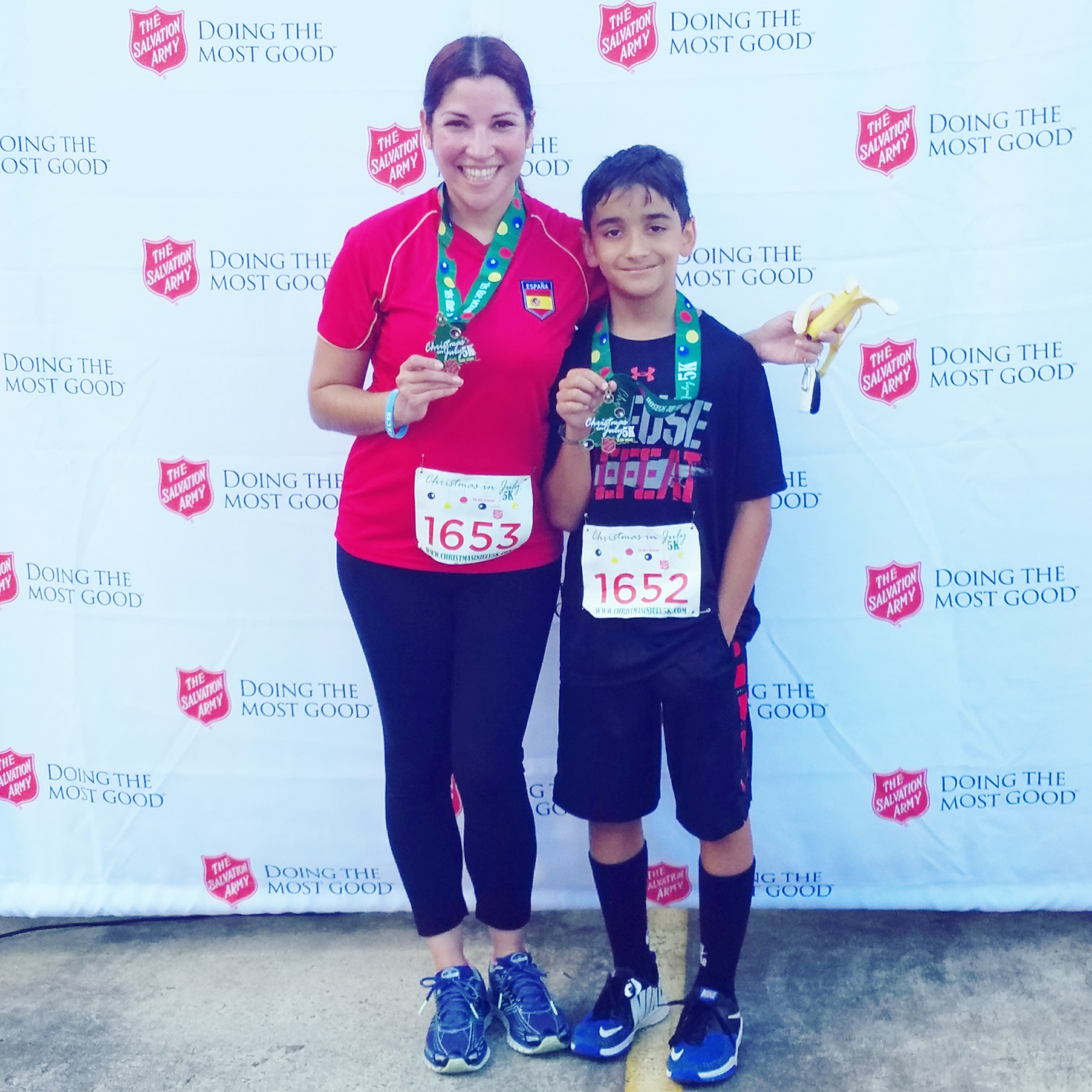 Coppelia and son Salvation Army Christmas in July 5k